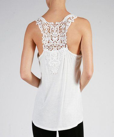 992d82f681fe2 This Off-White Lace-Accent Racerback Tank - Women is perfect!  zulilyfinds