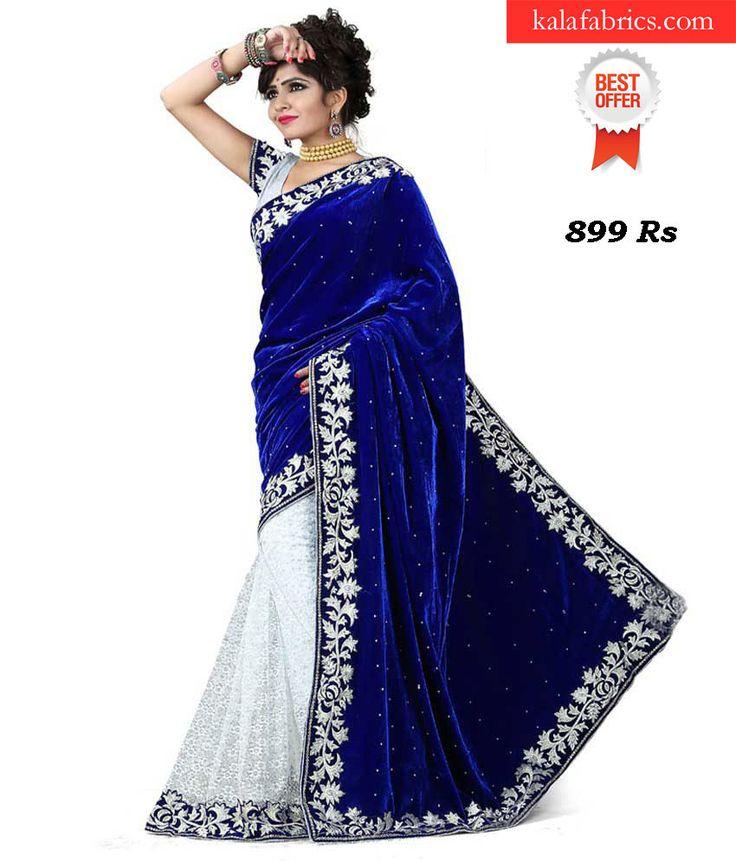 Blue Velvet Designer Saree http://www.kalafabrics.com/product/blue-velvet-designer-saree/