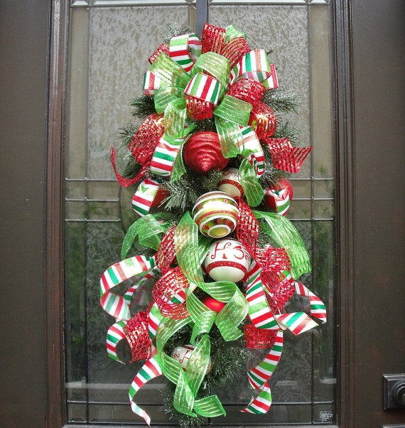Christmas Wreath Christmas Swag Ribbon Swag Cascade by LuxeWreaths,