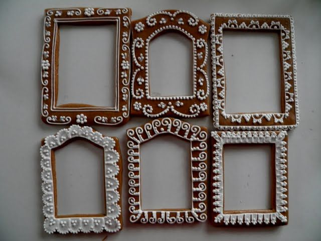 Decorate cheap wooden frames to look like gingerbread houses