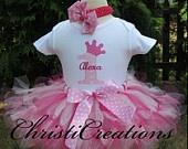1st Birthday Pink Princess Custom Boutique Birthday Petti Tutu and Onesie Set Personalized