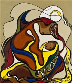 By Daphne Odjig, Mother and Child, Made of Acrylic on canvas kp