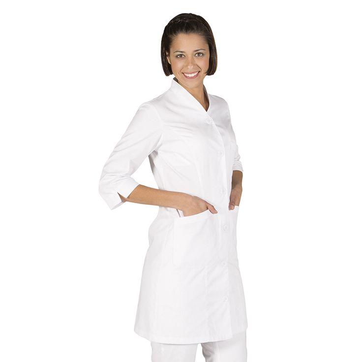 542 - bata sanidad Laura en color blanco y manga 3/4 con botones #medico #enfermera #doctor #hospital #batasanidad #batalaboratorio #batafarmacia