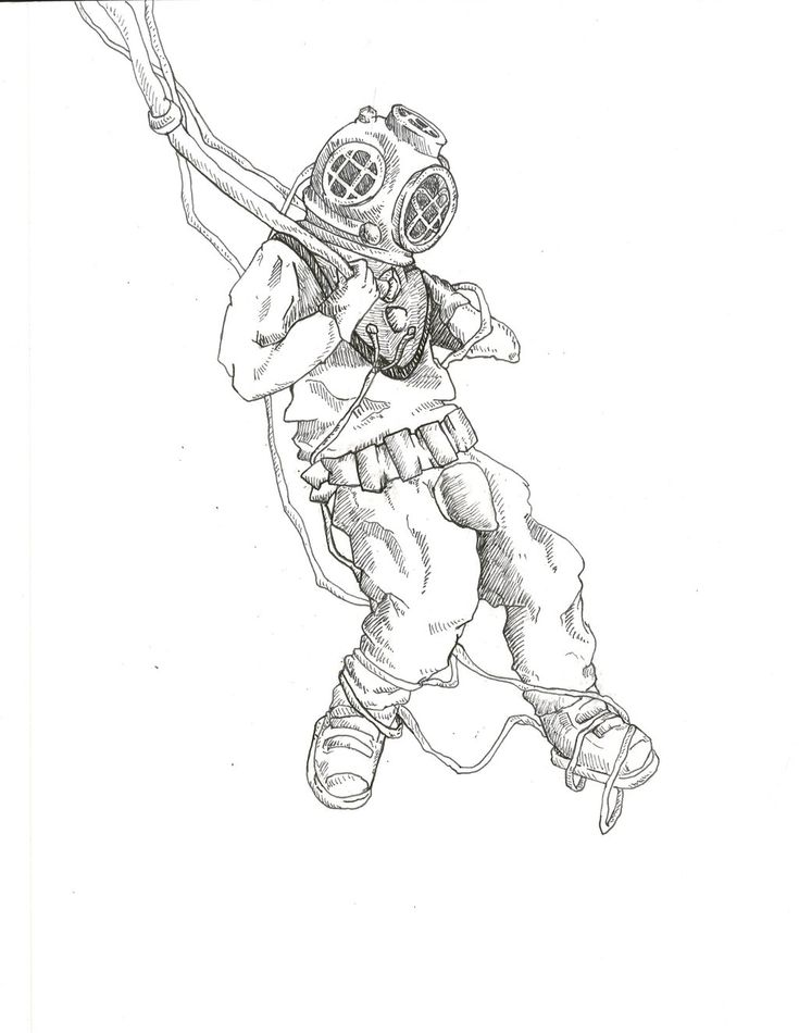 It is a picture of Sassy Scuba Diver Drawing