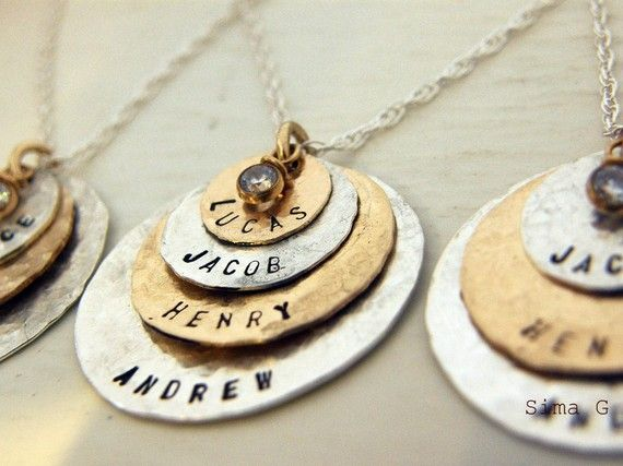 Hand Stamped Jewelry - Personalized Your Charm - Two Tone Necklace - ( gold filled ) and ( sterling silver ) with CZ - 4 discs -Simag $100