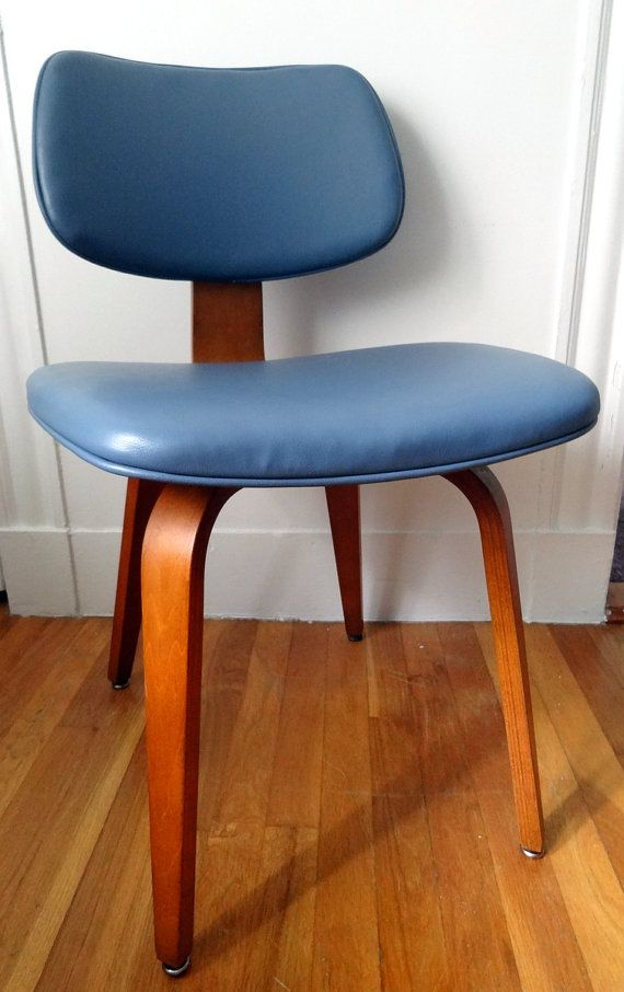 Vintage Upholstered Thonet chair - greyish blue
