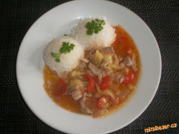 Vepřové nudličky po mexicku s rýží