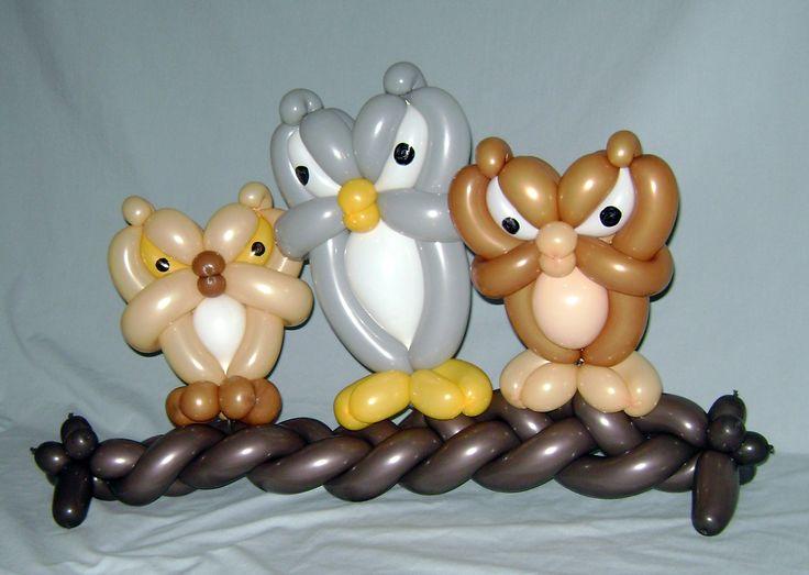 Угрюмые совы из шаров для детей