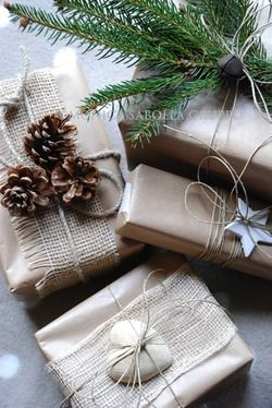 Presents with Natural & Neutral Elements as Christmas Decor