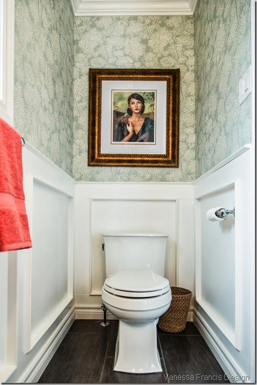 water closet with wainscoting and wallpaper by Vanessa Francis Design