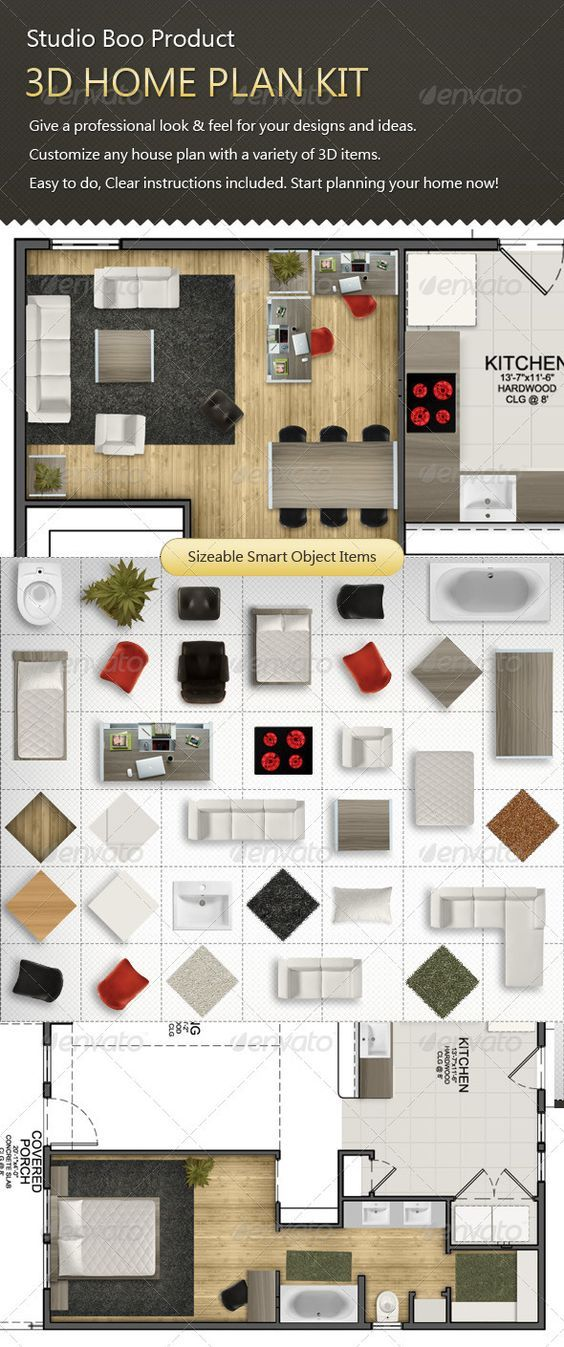 3D Home Plan Kit #GraphicRiver Studio Boou0027s Product, Home Plan Mock Up.  Professional House Plan Tool For Architects And Graphic Designers Customize  Any Plan ...