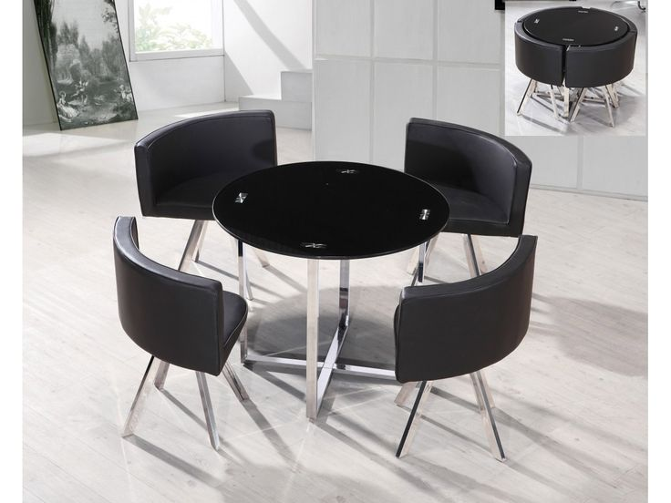 Round Space Saver Dining Table And Chair Set