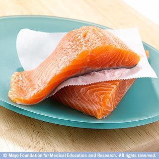 6. Oily fish, such as salmon, high in omega-3 fatty acids (which help prevent blood clots, lower blood pressure, and keep the brain healthy) and protein.  Avoid farm-raised Atlantic salmon, which have a lot less nutrition due to its diet of corn.    From Mayo Clinic's list of 10 super-foods, characterized by being low in Calorie density, high in nutrients, and readily available.