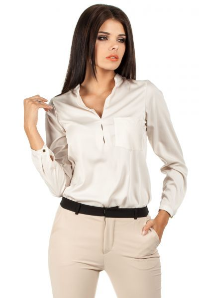 Beige blouse with long sleeves