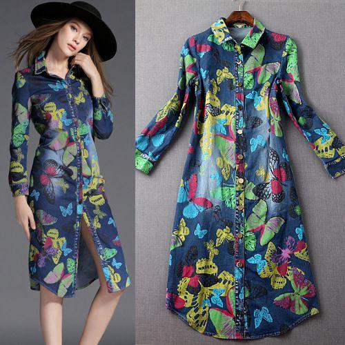 Платье, осень европейский стиль женщины печать бабочка цветок длинная нагрудные элегантный вечернее рубашка купить на AliExpress