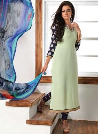 Pista Green Embroidery Work Georgette Chiffon Fancy Designer Print Churidar Suit http://www.angelnx.com/Salwar-Kameez/Churidar-Suits