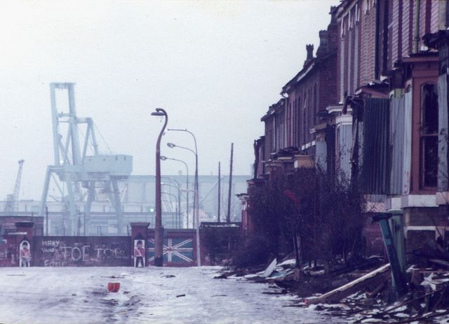 Salford Docks, Salford, Manchester, England, United Kingdom, 1981, photograph by Matthew Wilkinson.