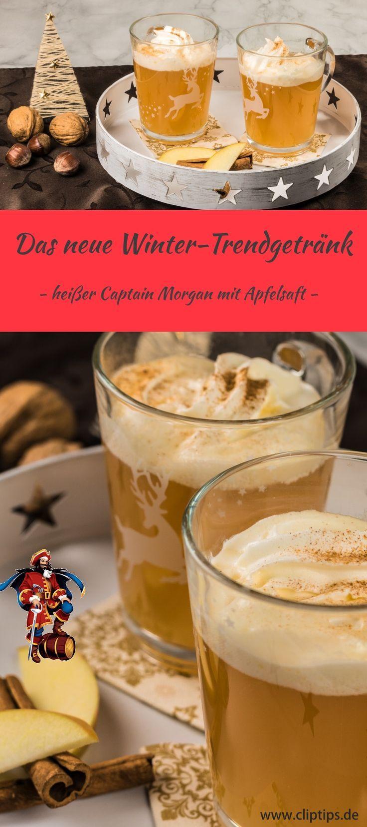 Heißer Captain Morgen Gewürz-Rum mit fruchtigem naturtrüben Apfelsaft, dekoriert mit leckerer Zimt-Sahne - einfach köstlich Probiert gleich das Rezept aus und genießt den Winter und die Adventszeit mit einer tollen Alternative zum langweiligen Glühwein. #advent #weihnachten #glühwein #Punsch #rezept