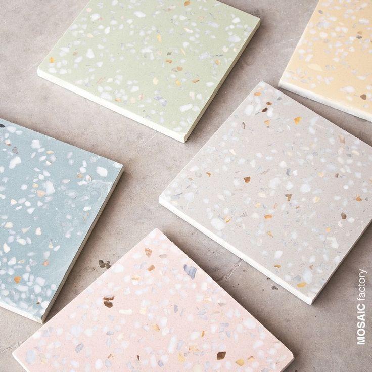 Moderne Terrazzo Fliesen in sanften Pastellfarben aus der