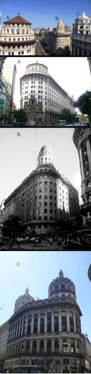 """Beautiful Domes on Diagonal Norte y Florida. These three buildings with their beautiful domes are found at the corner of Diagonal Norte and Florida. The top photo shows all three looking toward Plaza de Mayo.  Building """"A"""" is the emblematic Bank of Boston Building, now Standard Bank, a 1924 neocolonial structure with a gothic touch. It's noted for its huge 17-meter arched Plateresque-style doorway, meticulously carved from limestone. The architects of the Bank of Boston were two notable…"""