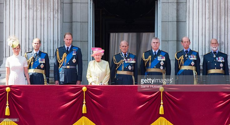 Sophie, Countess of Wessex, Prince Edward, Earl of Wessex, Prince William, Duke of Cambridge, Queen Elizabeth II, Prince Philip, The Duke of Edinburgh and Prince Andrew, Duke of York, Prince Edward, Duke of Kent and Prince Michael of Kent, watch the fly past from the balcony of Buckingham Palace to commemorate the 75th Anniversary Of The Battle Of Britain on July 10, 2015 in London, England.