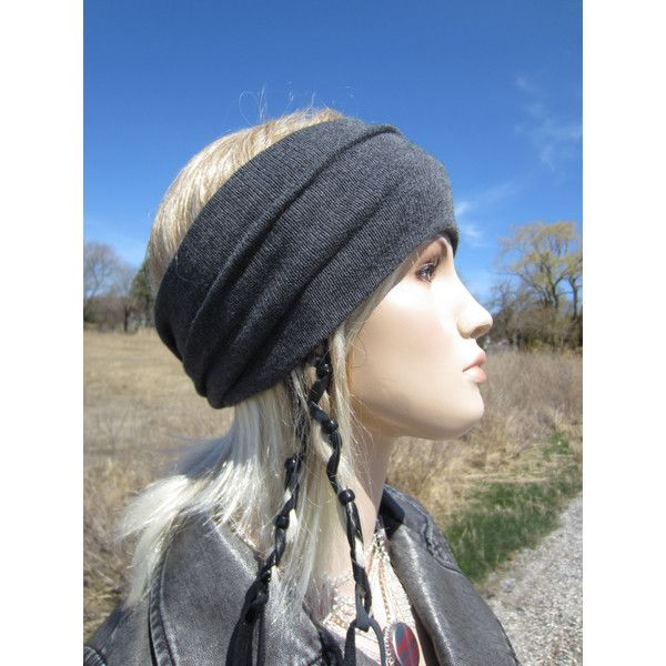 Bohemian Headband Turban Hair Wrap Cotton Blend Charcoal Gray Wide... (£21) ❤ liked on Polyvore featuring accessories, hair accessories, grey, headbands & turbans, turban twist headband, knit arm warmers, turban headbands, head wrap hair accessories and stretchy headbands