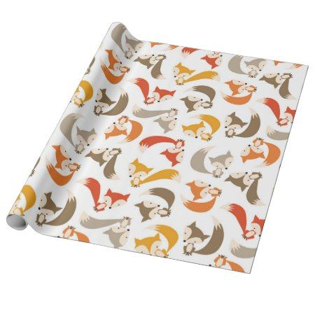 Autumn Fox Wrapping Paper - tap, personalize, buy right now! #pattern #patterns #illustrations #illustration #animal #animals #giftwrap #giftwrapping #kids #children #babyshower