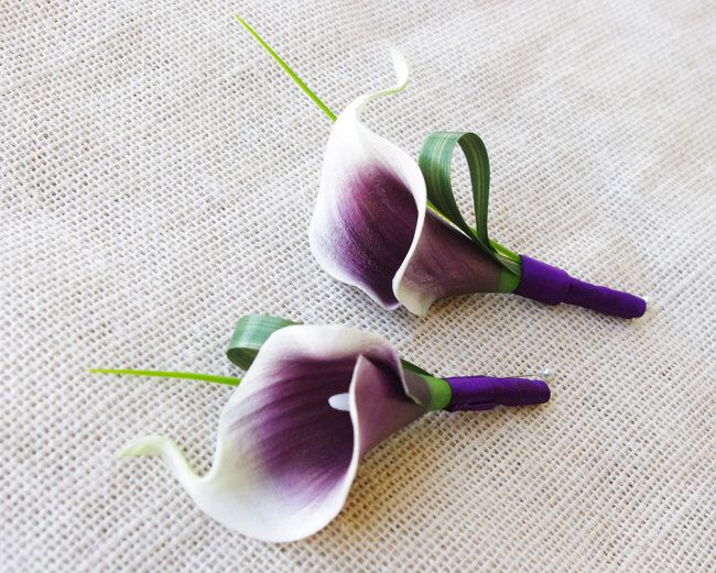 Purple Heart Picasso Silk Calla Lily Wedding Boutonniere  - Tropical GRASS Wedding Boutonniere  - Calla Color Choices by Wedideas on Etsy https://www.etsy.com/listing/202962218/purple-heart-picasso-silk-calla-lily