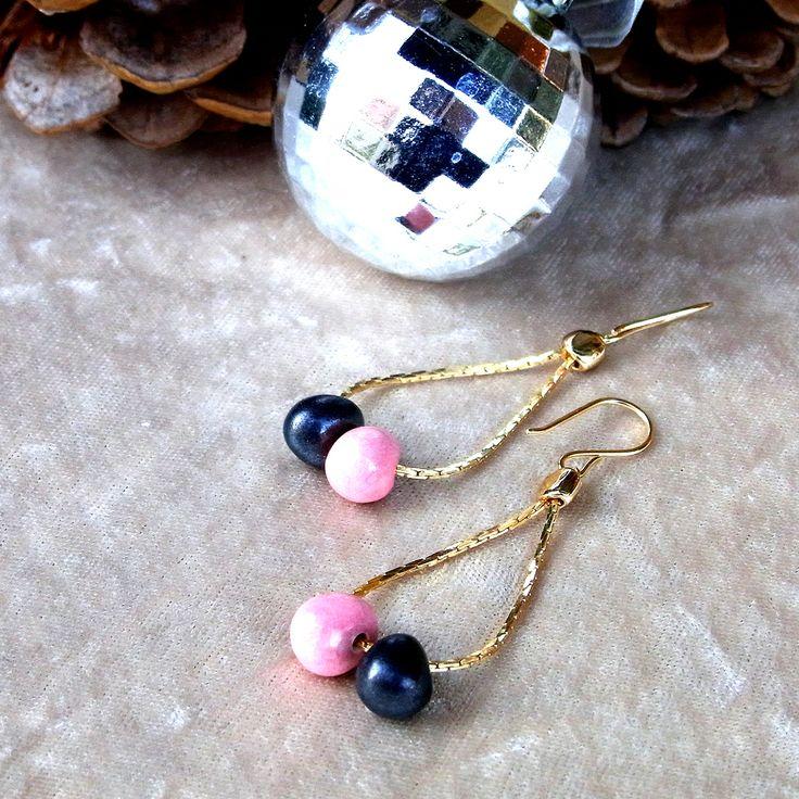 <2254:Helena Rohner earrings RASPBERRY×GRAPHITE>