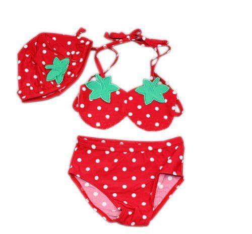 Toddler Girls' Swimsuit, Cute Strawberry Bikini, TWO-Piece Swimwear, Size 6 $15.79