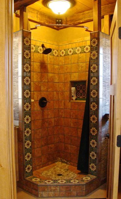 A Shower Designed By Kim Trimmed In Mexican Talavera