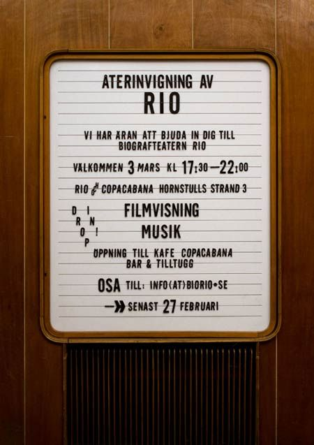 Interior signage as part of the interior redesign of the Rio cinema in Stockholm, Sweden - by studio 1:2:3