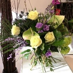 Flower Bouquet in Creams and Purples for Mother's Day