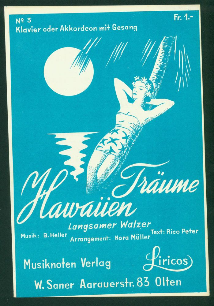 B. HELLER - HAWAIIEN TRÄUME - LANGSAMER WALZER FÜR KLAVIER ODER AKKORDEON GESANG