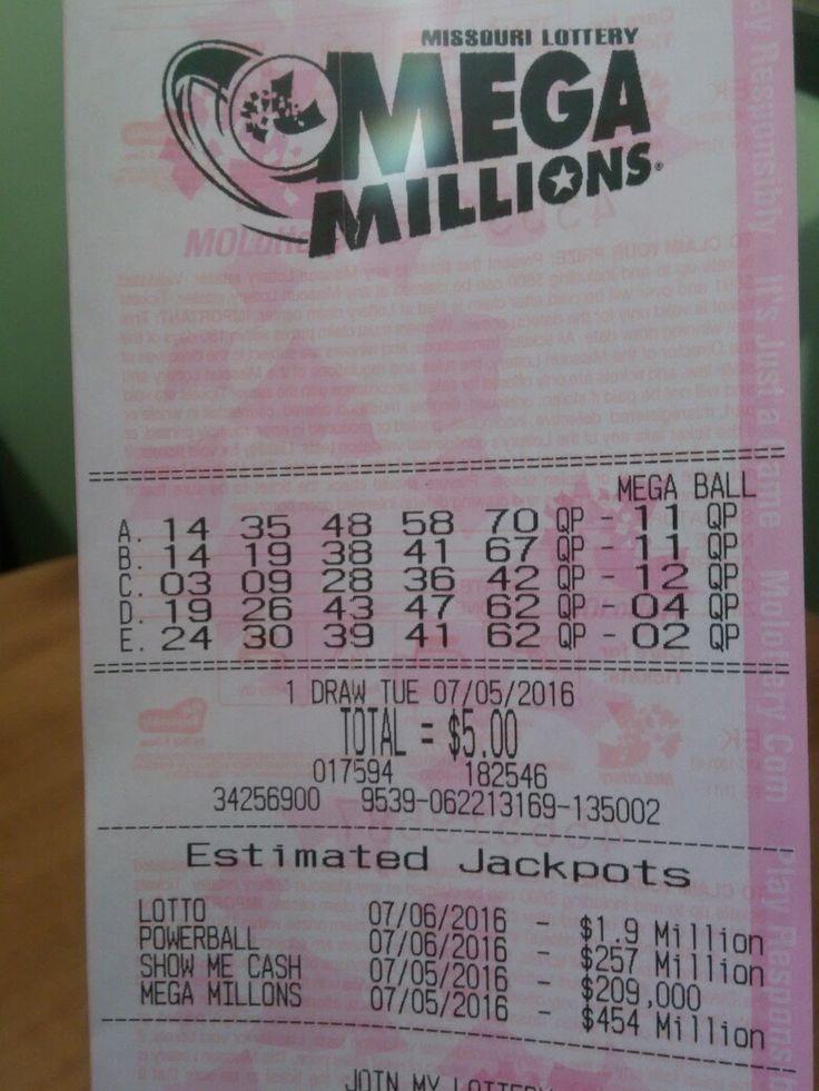 Numbers for tonight's Mega Millions! 07/05/16