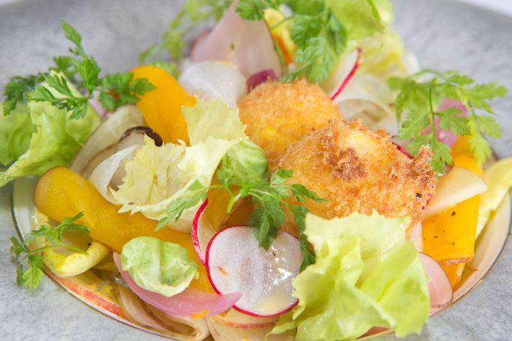 Salade van witlof, andijvie, bieten en knolletjes en een gefrituurde eidooier