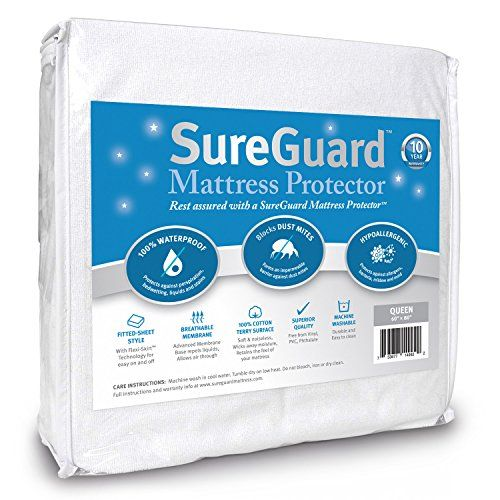 Queen Size SureGuard Mattress Protector - 100% Waterproof - Breathable Soft Cotton Terry Cover - Blocks Dust Mites & Allergens - Superior Quality - 30 Day Return Guarantee - 10 Year Warranty SureGuard Mattress Protectors http://www.amazon.com/dp/B00EJOYNBA/ref=cm_sw_r_pi_dp_V5C6vb1J7J5HB