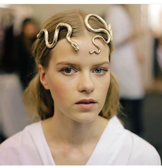 Gold snake crown/headband at Valentino.
