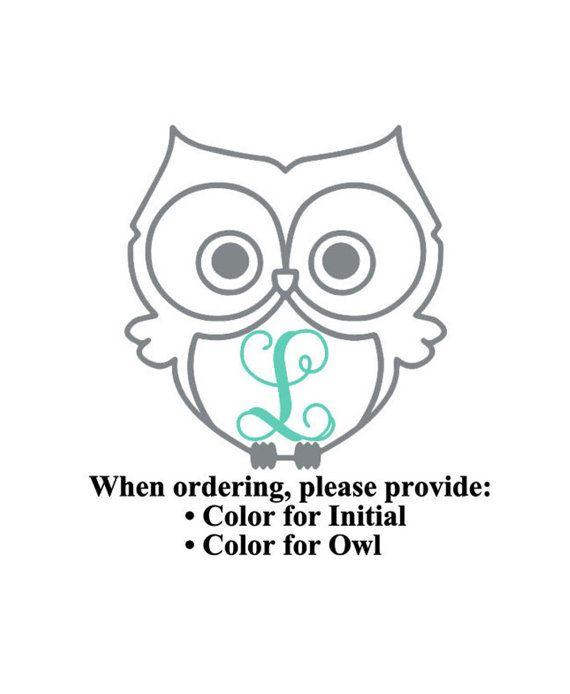 Owl Vinyl Decal with Initial, perfect for application on laptops, car windows, tumblers, Yeti tumblers, or just about anywhere you have a