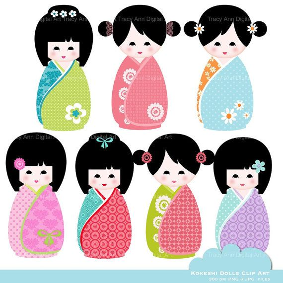 Kawaii Kokeshi Dolls Clip Art for by TracyAnnDigitalArt on Etsy