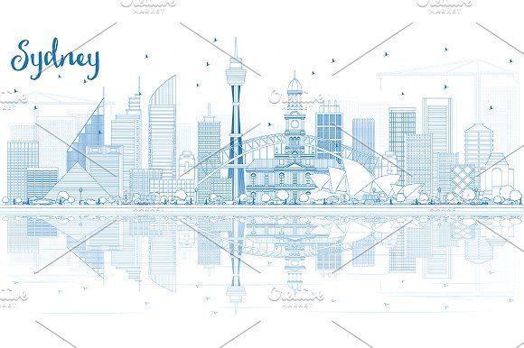 #Outline #Sydney #Australia #Skyline by Igor Sorokin on @creativemarket
