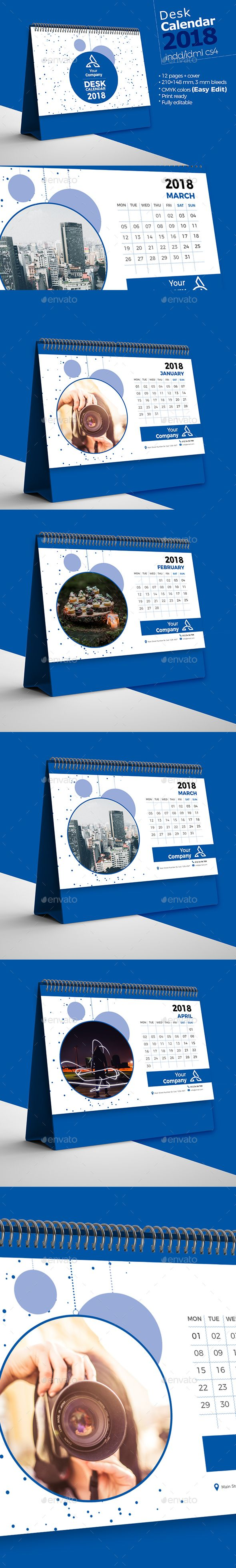 Desk Calendar 2018 — InDesign INDD #cover #event • Available here ➝ https://graphicriver.net/item/desk-calendar-2018/21024030?ref=pxcr