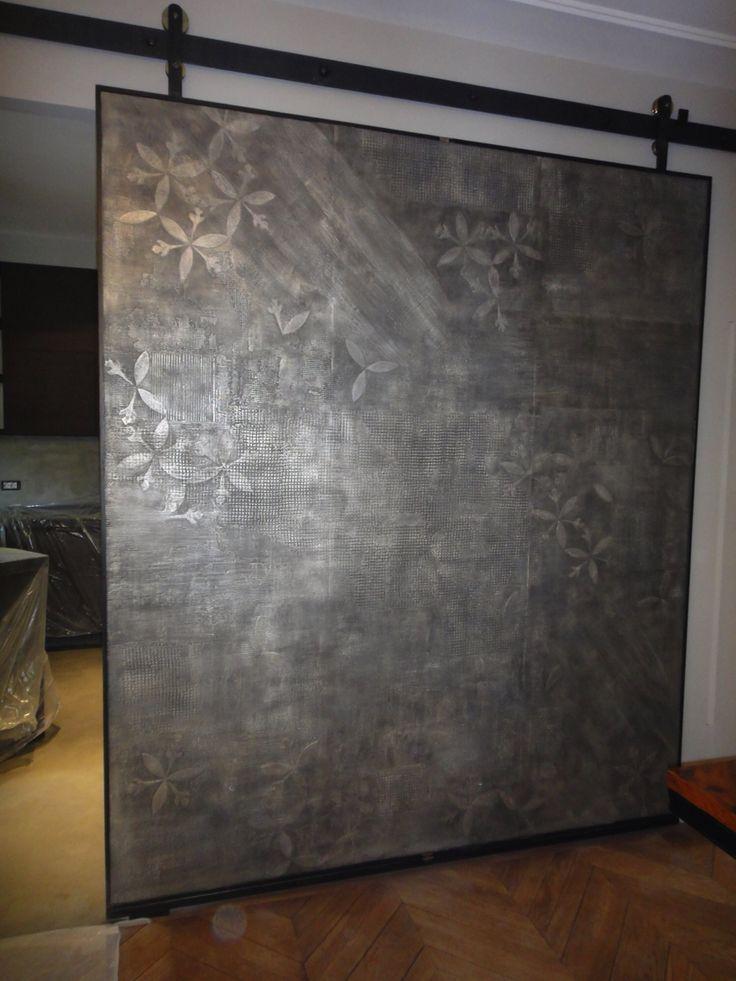 Porta scorrevole  Ferro, legno, resina