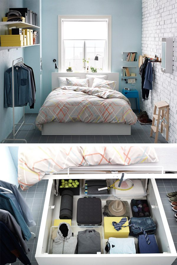 In a small bedroom, sometimes you have to think outside of the closet. If a wardrobe simply won't fit, you can get around the problem with a bed that can store a wardrobe's worth of clothes. Just one of the ways IKEA can help you live large in a small space. Take a look.