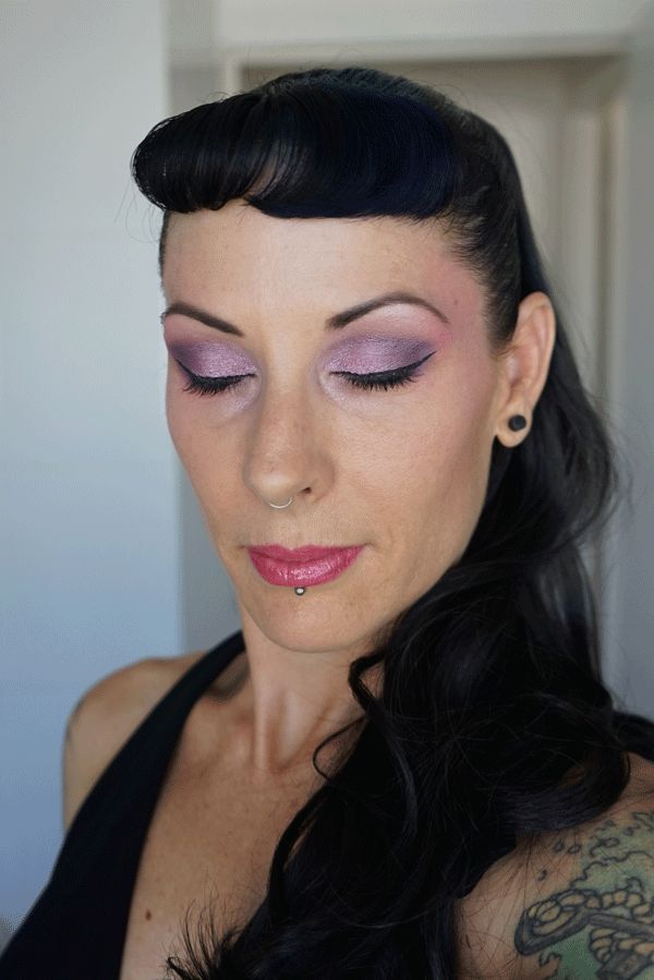 """Pink Lady Makeup Look ~ A Little Bit """"Goth"""" Inspired With Sweeping Pink Blush Up to the Temples and High on the Cheeks Created by http://makeupartistrycairns.com.au"""