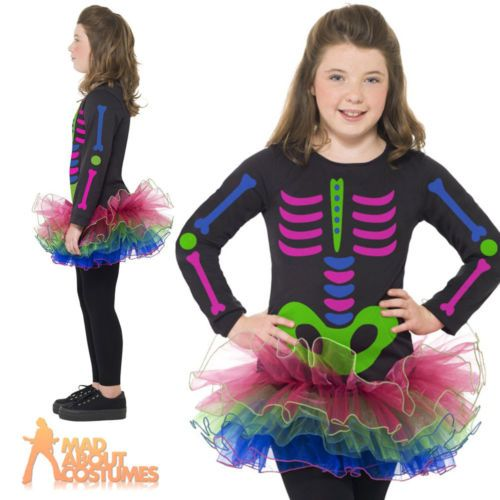 Child neon #skeleton girl costume #halloween fancy #dress outfit new,  View more on the LINK: 	http://www.zeppy.io/product/gb/2/152158391736/