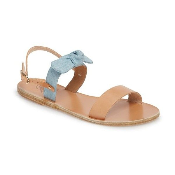 Women's Ancient Greek Sandals Clio Bow Sandal (265 AUD) ❤ liked on Polyvore featuring shoes, sandals, tan wedge shoes, buckle sandals, golden shoes, tan wedge sandals and leather shoes