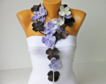 crochet lariat  fall colored flower scarf by SenasShop on Etsy