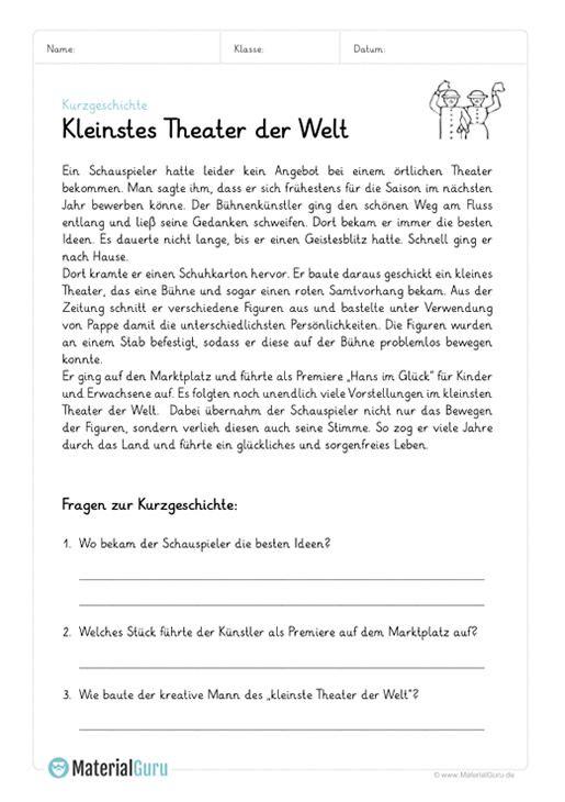 Ein Kostenloses Arbeitsblatt Zum Thema Kurzgeschichten Auf Dem Die Schuler Ein Beispiel Mit Einer Kurzgeschichte Kurzgeschichten Text Auf Deutsch Leseubungen