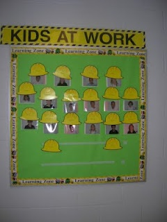 Construction Classroom Theme. Could dress them up as what they want to be for Community Helper week also (cute board idea, green background could stay thru March)